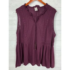 Terra & Sky Burgundy Sleeveless Peasant Boho Top